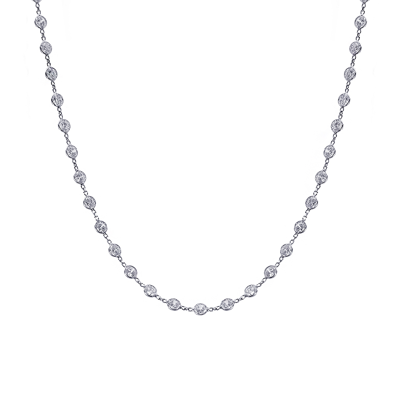 14 00 Carat Round Cut Cz By The Yard Necklace 14k White