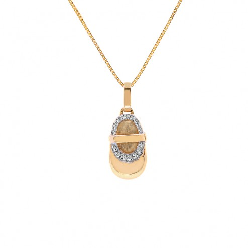 0.15 Carat Round Diamond Baby Bootie Pendant on Box Link Chain 14K Yellow Gold