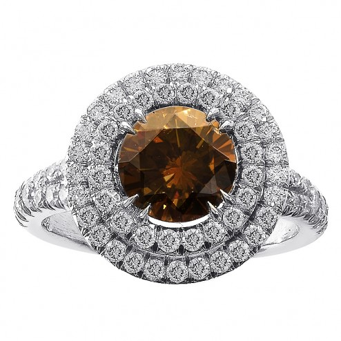 2.10ct Cognac Diamond Halo Split Shank Engagement Ring Platinum