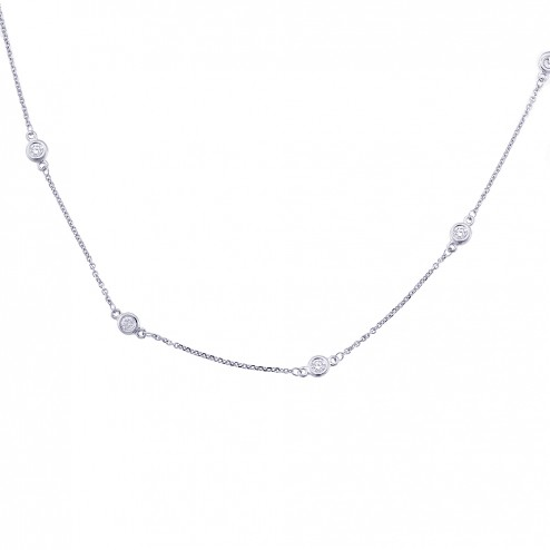 1.75 Carat Round Diamonds by the Yard Necklace 14K White Gold 6.0gr