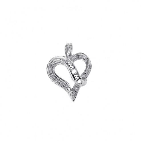 0.10 Carat Round Cut Diamond Heart Pendant Mom in 10K White Gold