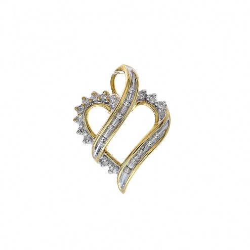 0.15 Carat Round/Baguette Cut Diamond Heart Pendant in 10K Yellow Gold