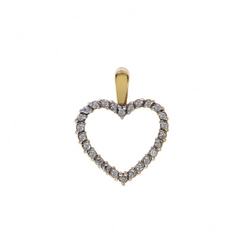 0.20 Carat Round Cut Diamond Heart Pendant in 10K Yellow Gold