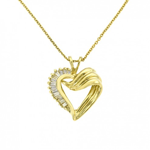 0.33 Carat Baguette Cut Diamond Heart Pendant 14K Yellow Gold 5.7gr