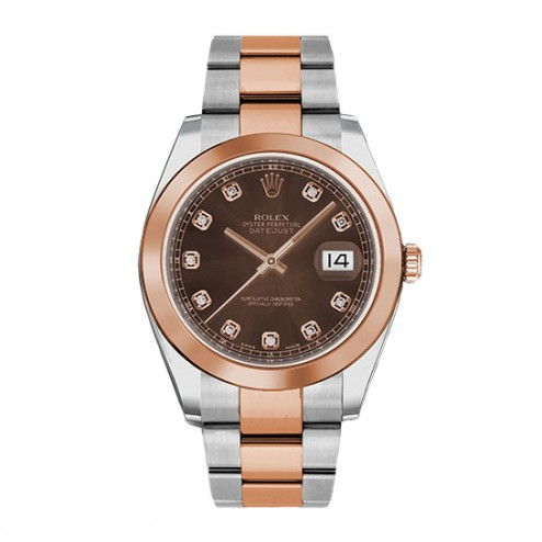 Rolex Datejust 41 Steel & 18K Everose Gold Watch Oyster Bracelet Chocolate Diamond Dial 126301