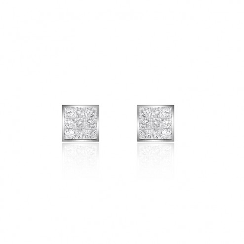 0.35 Carat Invisible Set Princess Cut Diamond Stud Earrings 14K White Gold