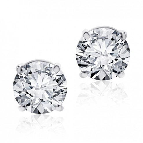 1.45 Carat Round Cut Diamond Stud Earrings F-G/VS2-SI1 14K White Gold