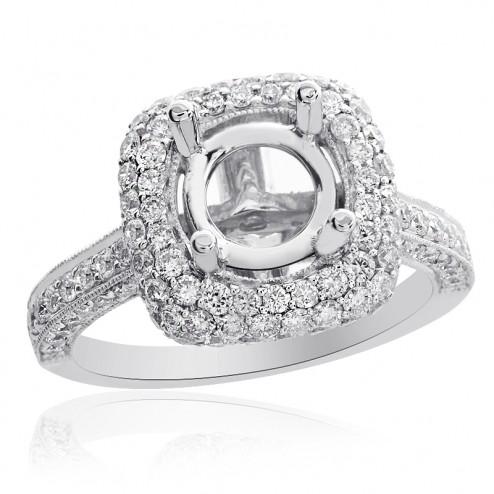 1.57 Carat Round Diamond Pave Halo Engagement Mounting 18K White Gold