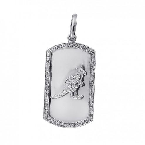 1.75 Carat Round Cut Diamond Kenguru Dog Tag Pendant 14K White Gold