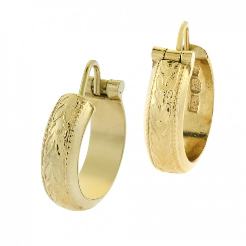 Elegant Round Hoop Vintage Earrings with Ornament 18K Yellow Gold Italy