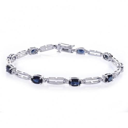 4.70 Carat Oval Shape Sapphire & Round Diamond Tennis Bracelet 14k White Gold