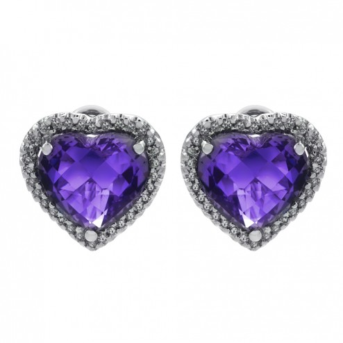 6.00ct Heart Shaped Amethyst and 0.35ct Round Diamond Halo Earrings 14K Gold
