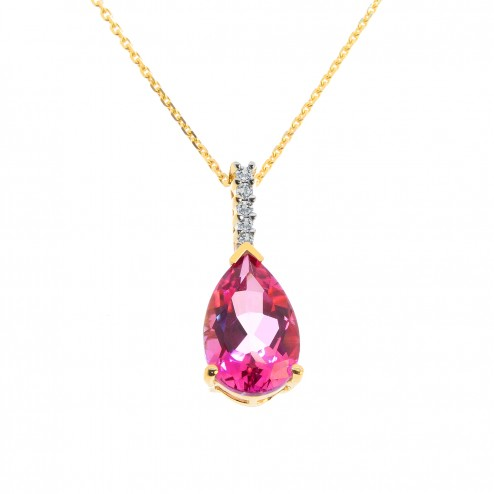 3.87 Carat Pear Shape Pink Topaz & Round Diamond Pendant on Cable Chain 14K Yellow Gold