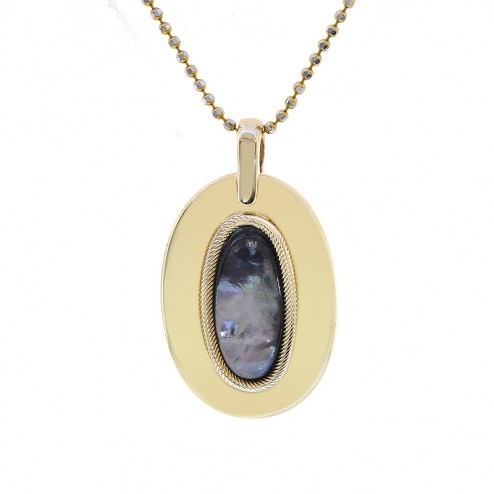 Black Mother of Pearl Oval Pendant 14K Yellow Gold With 14K Yellow Gold Chain