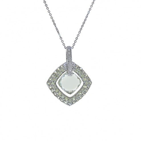 3.00 Carat Checkerboard Green Amethyst and 0.09 Carat Diamonds Pendant in 14K White Gold
