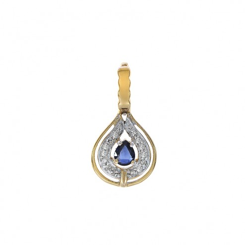 0.10 Carat Diamonds and 0.25 Carat Sapphire Pendant in 14K Yellow Gold
