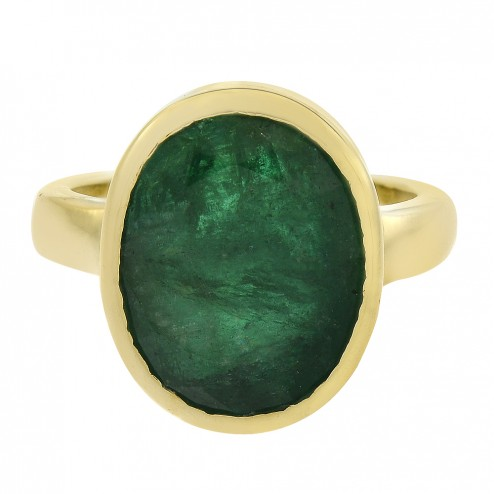 4.00 Carat Raw Cut Emerald Handmade Vintage Ring in 18K Yellow Gold