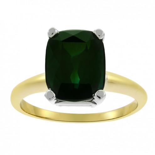 4.20 Carat Green Tourmaline Solitaire Ring in 18K Yellow Gold/Platinum