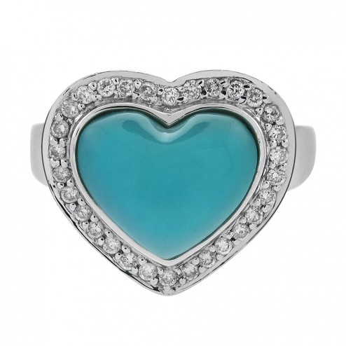 Heart Shaped Turquoise and 0.30 Carat Diamond Ring 14K White Gold
