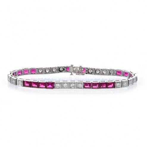 10.80 Carat Created Ruby & Round Diamond Antique Style Platinum Bracelet