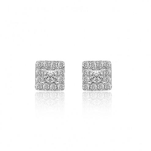 0.77 Carat Princess & Round Cut Diamond Halo Stud Earrings 14K White Gold