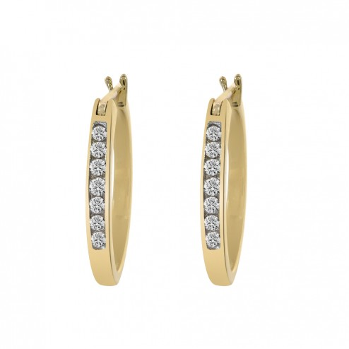 0.20 Carat Diamonds Classy Round Hoop Vintage Earrings 10K Yellow Gold