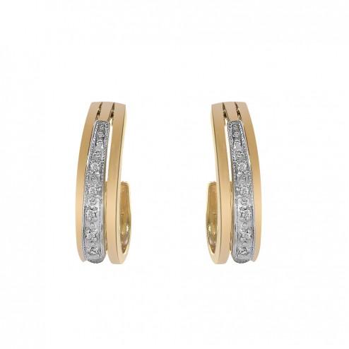 10K Yellow Gold Huggie Half Hoop with Diamonds Accent Vintage Earrings