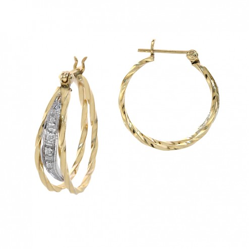 14K Yellow Gold Elegant Round Hoop with Diamond Accent Vintage Earrings