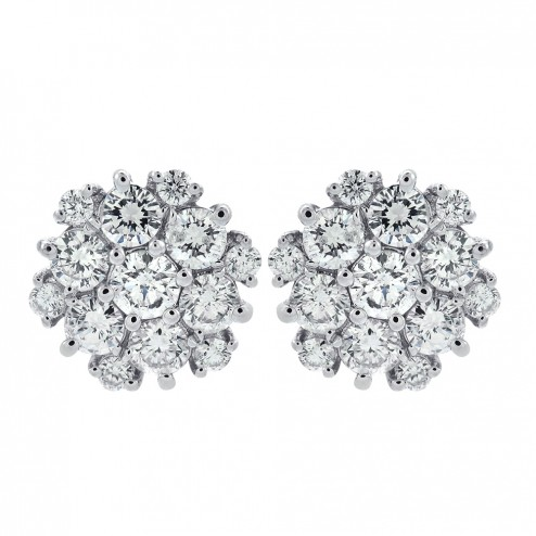 2.35 Carat Round Cut Diamond Cluster Stud Earrings 14K White Gold