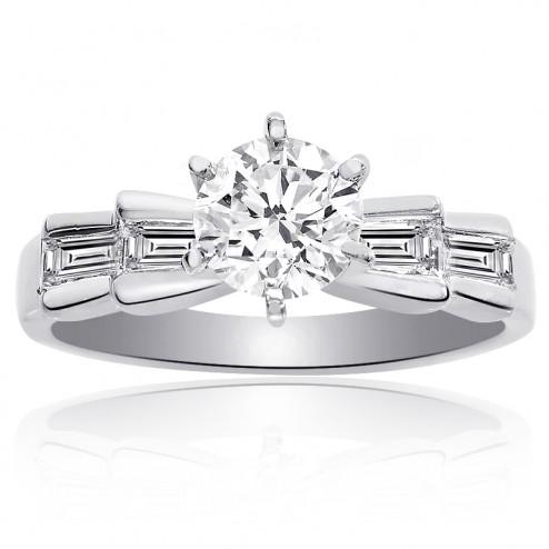 1.15 Carat H-VS1 Round Brilliant Cut Diamond Engagement Ring Platinum