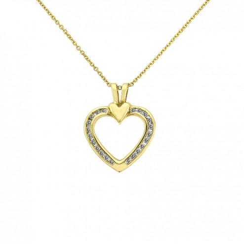 0.45 Carat Round Cut Diamond Heart Shaped Pendant 14K Yellow Gold