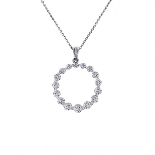 1.50 Carat Graduated Round Diamond Circle Pendant on Cable Link Chain 14K White Gold