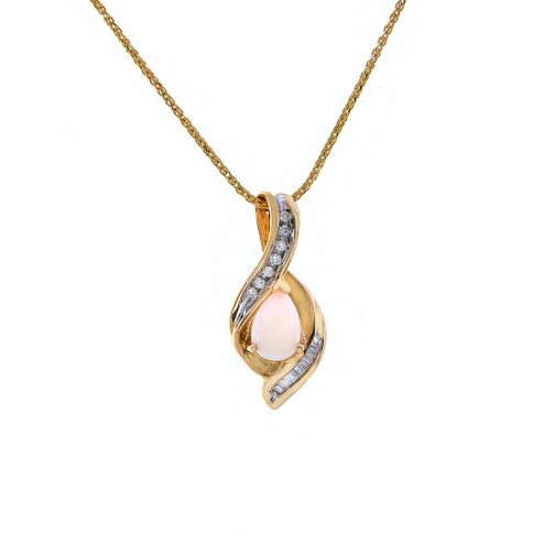 0.80 Carat Opal & 0.20 Carat Diamond Pendant Necklace 14K Yellow Gold