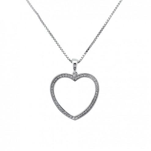 0.20 Carat Round Cut Diamonds Heart Shaped Pendant 14K White Gold Chain