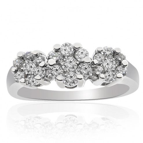 0.75 Carat G-SI1 Natural Round Diamond Cluster Engagement Ring 14K White Gold
