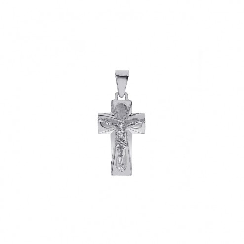 14K White Gold Simple Crucifix Cross Pendant