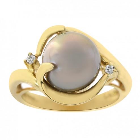 10mm Tahitian Pearl and 0.02 Carat Round Cut Diamond Modern Ring 18K Yellow Gold