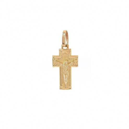 14K Yellow Gold Simple Crucifix Pendant