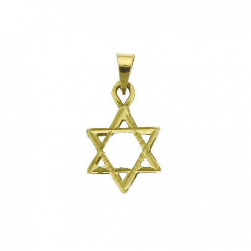 14K Yellow Gold Magen David The star of David Charm Pendant