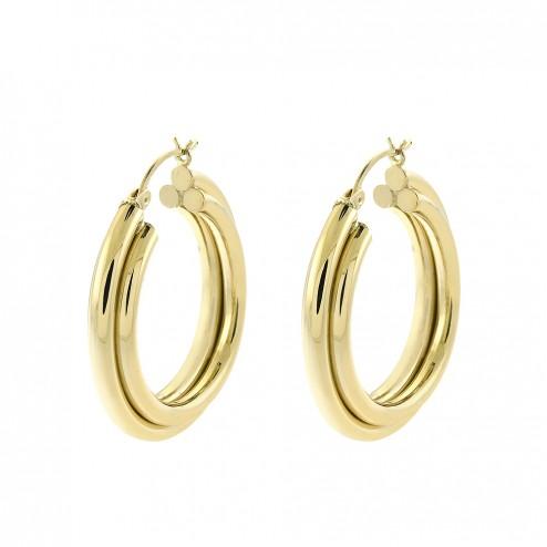14k-yellow-gold-three-rings-dangle-hoop-earrings-5-9gram
