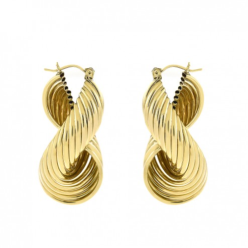 10K Yellow Gold Modern Twisted Dangle Hoop Earrings 13.8gram Italy
