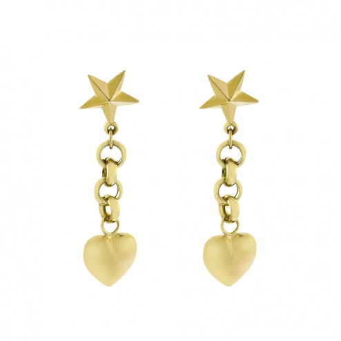 14K Yellow Gold Heart and Star Dangle Earrings 1.9 Grams