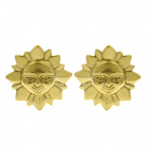 14K Yellow Gold Sun Shaped Button Huggie Earrings