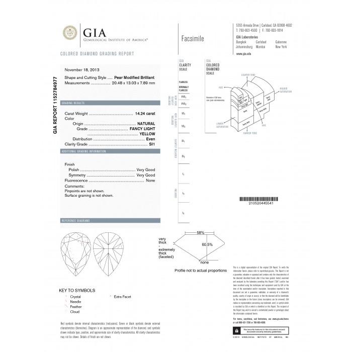 1499 Carat Gia Certified Fancy Yellow Pear Shape Diamond Engagement