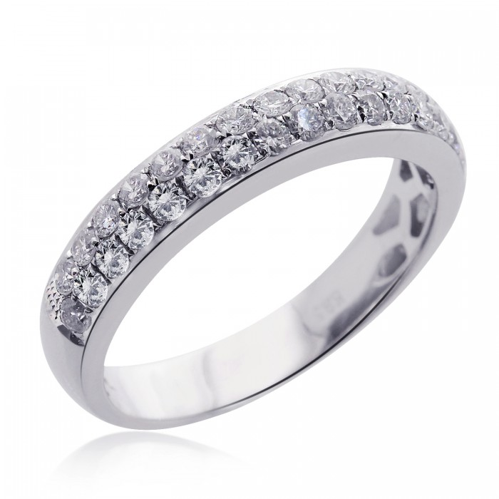 050 Carat G VS2 Micro Pave Double Row Round Brilliant Diamond Band 14k White Gold