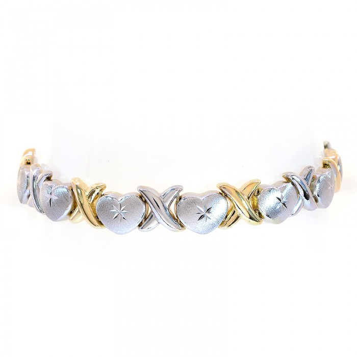 Hearts And Kisses Bracelet: 8.5mm Ladies 14K Two Tone Gold Hearts And Kisses Bracelet