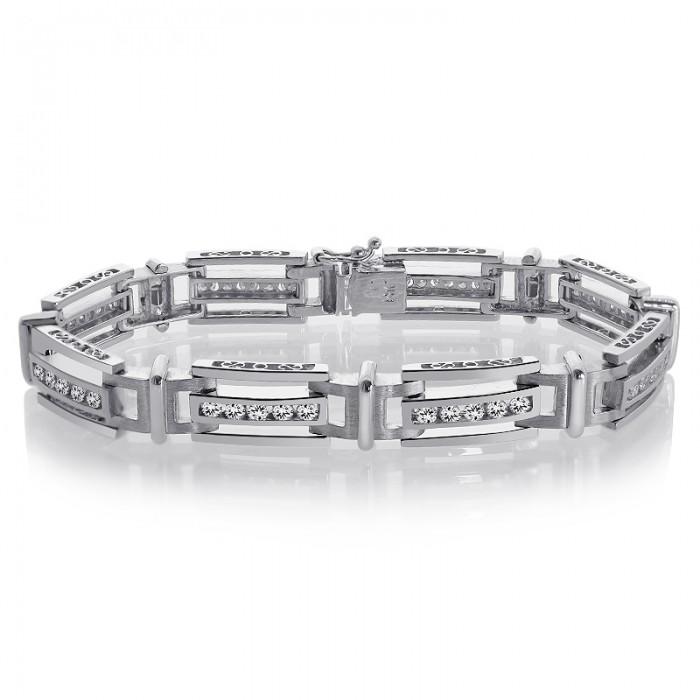 2 75 Carat Mens Channel Set Round Cut Diamond Bracelet 14K White