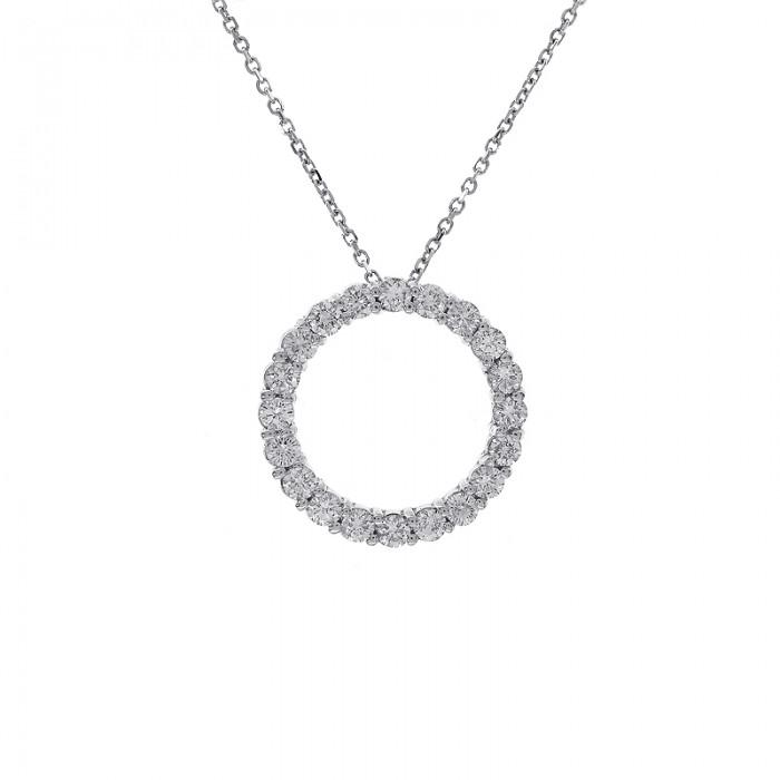 100 carat round brilliant diamond circle of love pendant in 16 100 carat round brilliant diamond circle of love pendant in 16 chain 14k white gold aloadofball Gallery