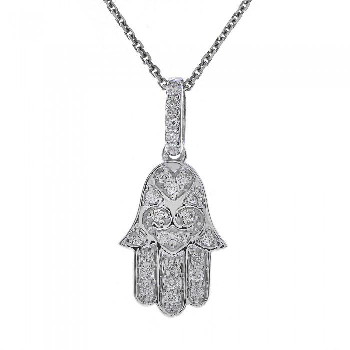 025 carat round diamond hamsa hand of god pendant necklace 14k 025 carat round diamond hamsa hand of god pendant necklace 14k white gold aloadofball Image collections