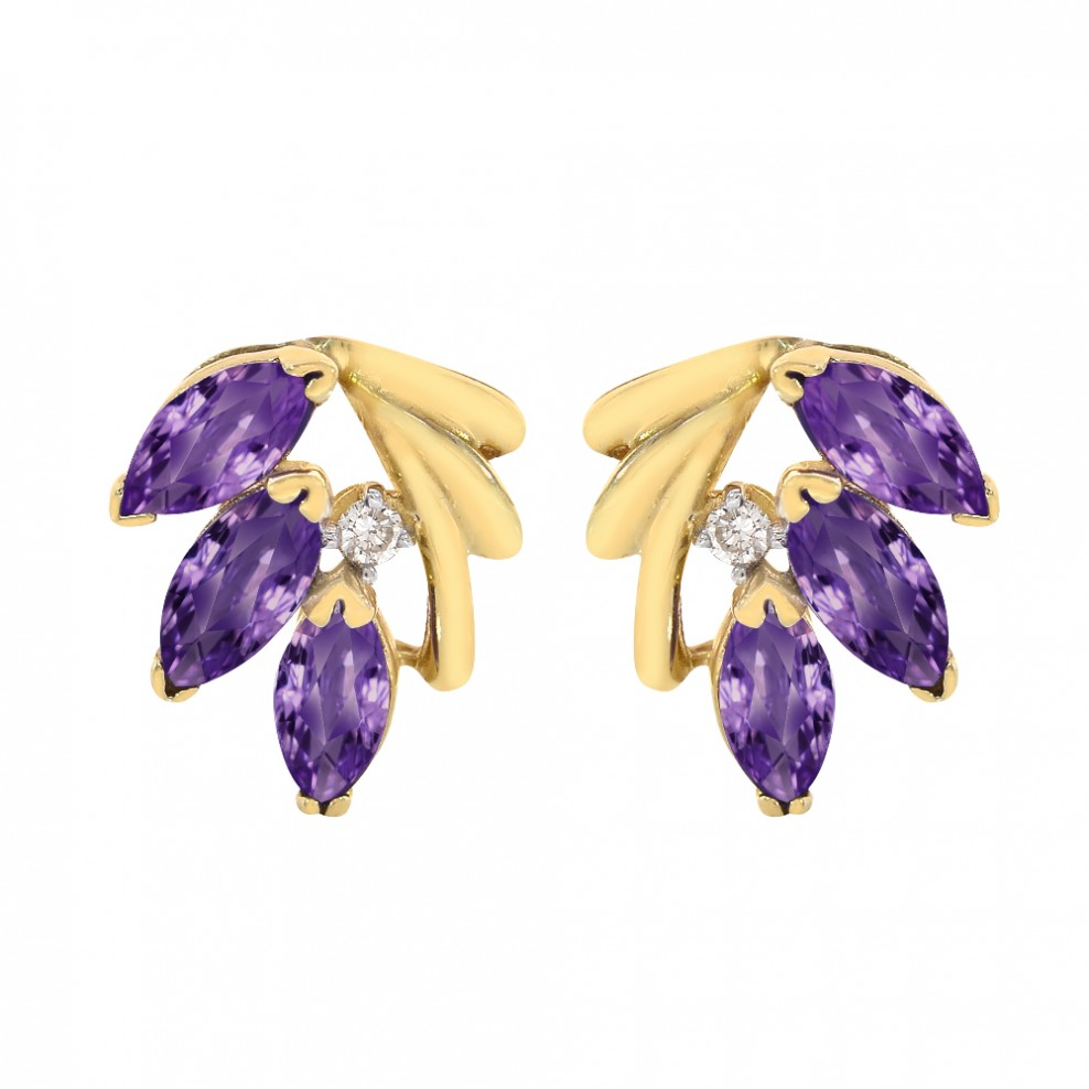 938ef9d25 1.20 Carat Amethyst and Diamond Accent Vintage Earrings 14K Yellow Gold